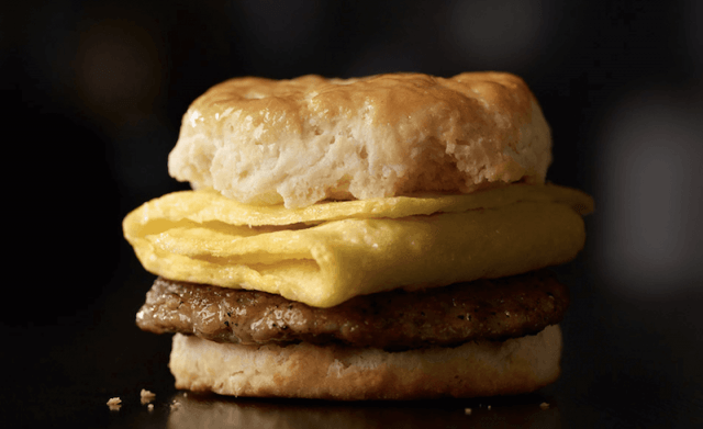 Sausage sandwich with egg and sausage.