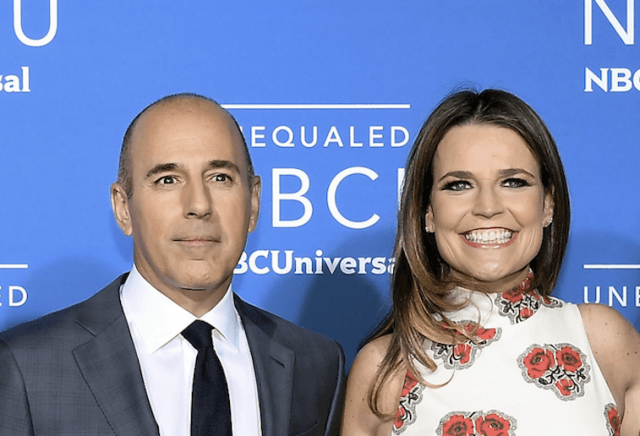 Savanah Guthrie and Matt Lauer smiling on a red carpet.