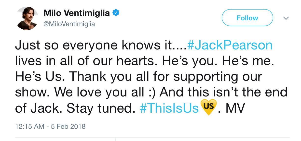 A screenshot of Milo Ventimiglia's twitter