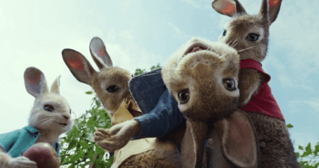 Peter Rabbit and his friends in the garden.