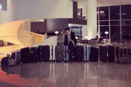 Tara and Johnny with their luggage for the 2018 Winter Olympics