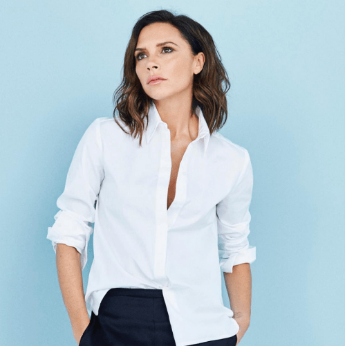 Victoria Beckham in white shirt