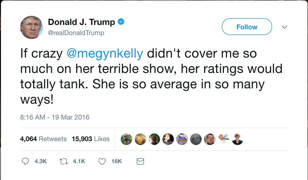 One of Donald Trump's tweets about Megyn Kelly.