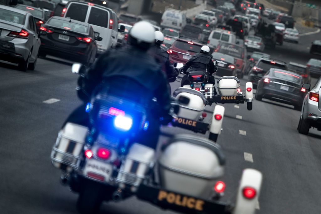 Secret Service uniformed division motorcycles make their way