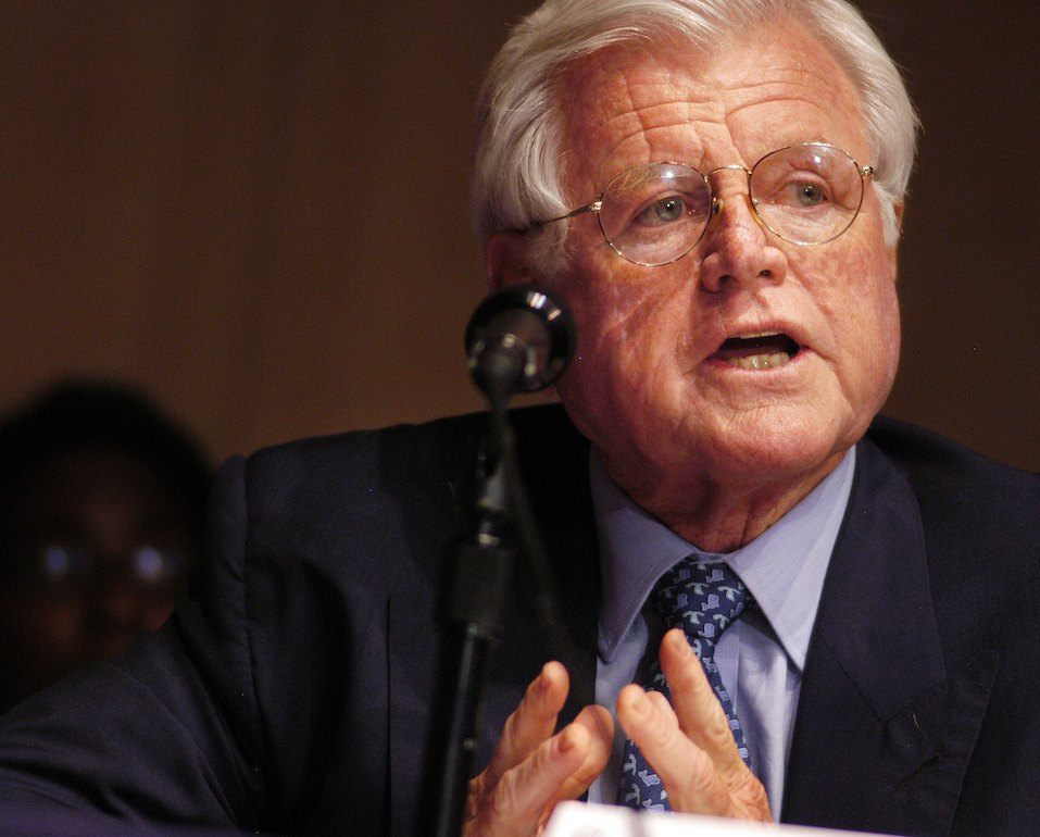 Senator Ted Kennedy speaks during a Senate Hearing on Illegal Immigration at the National Constitution Center