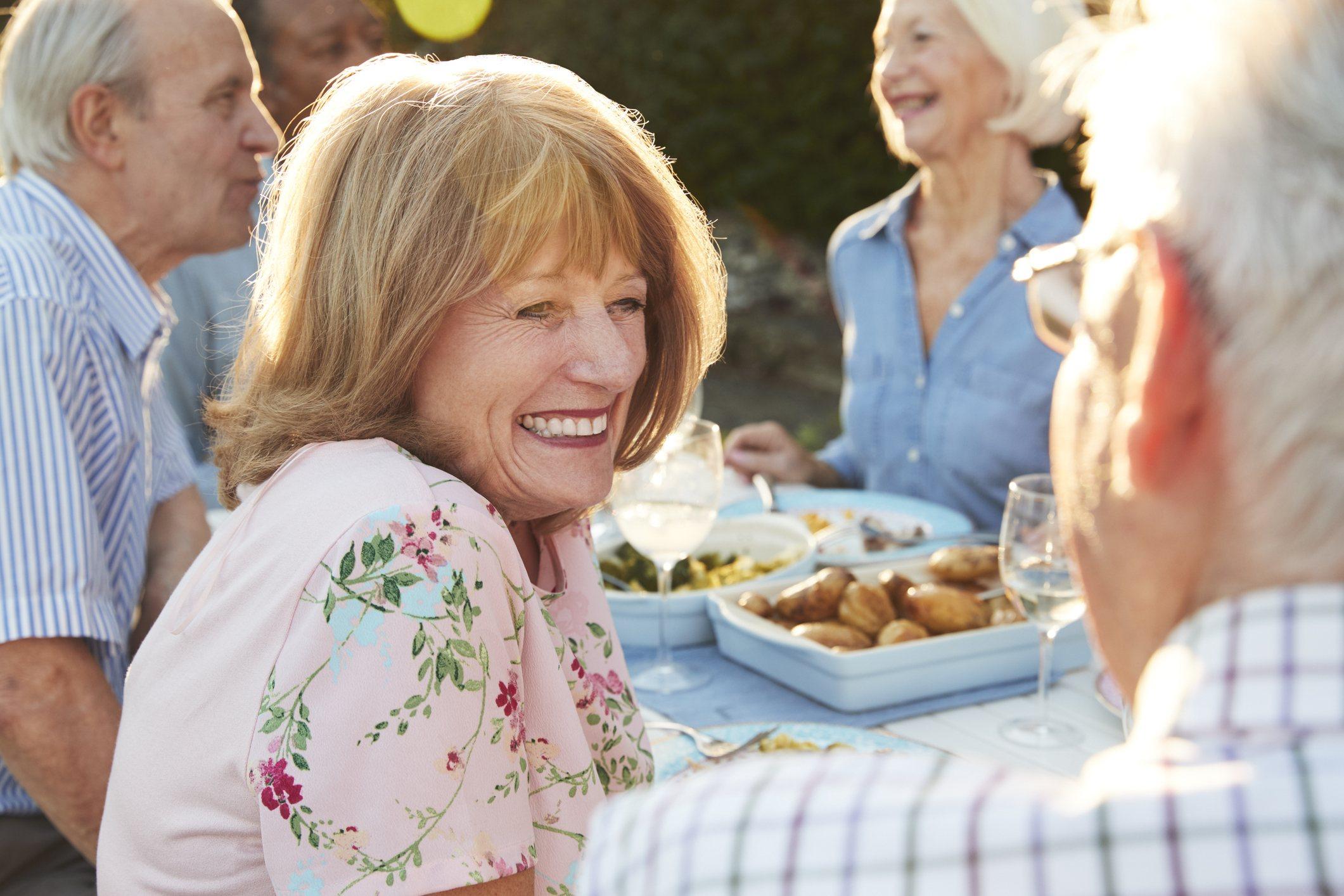 Seniors Enjoying Outdoor Dinner Party