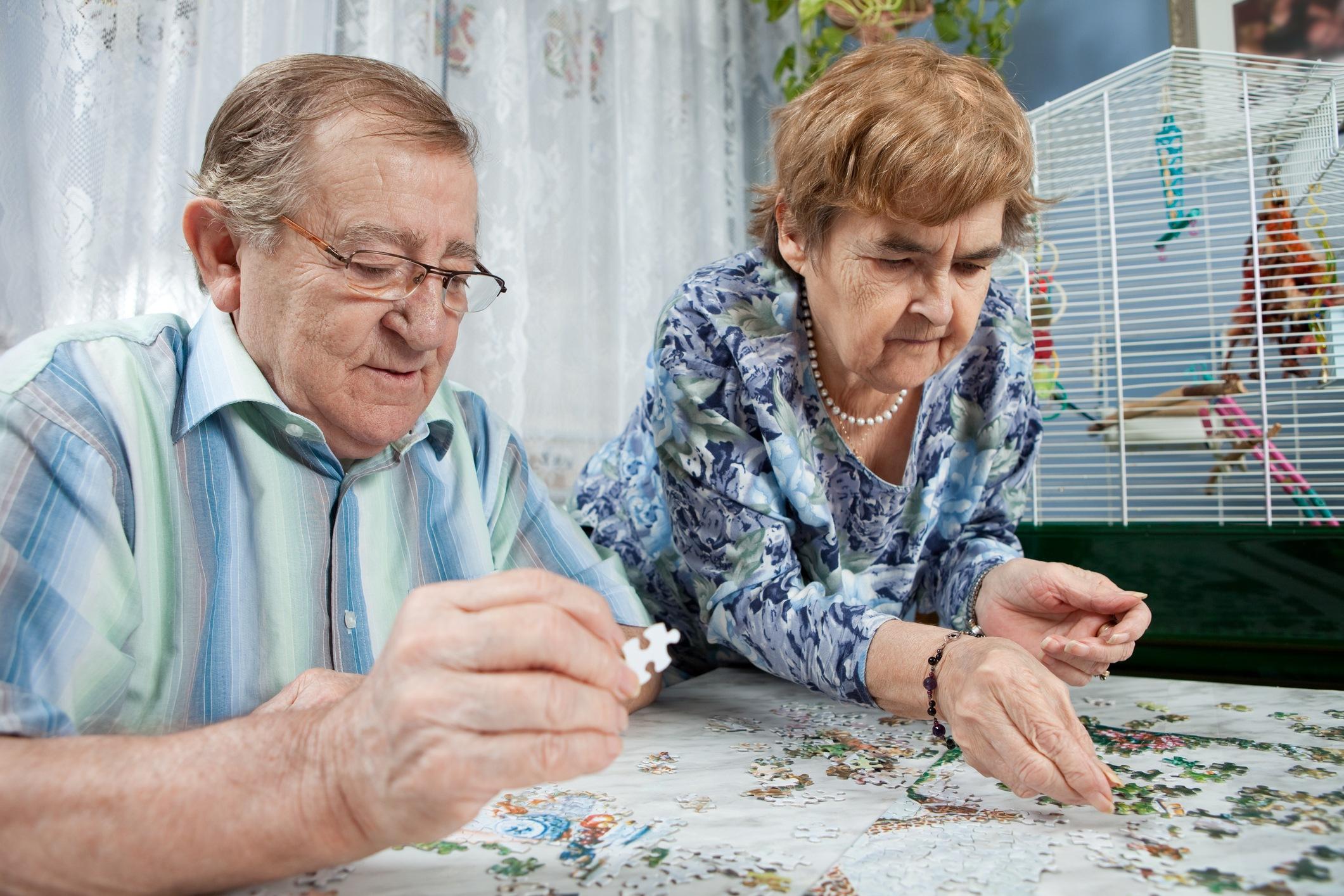 Seniors playing puzzle