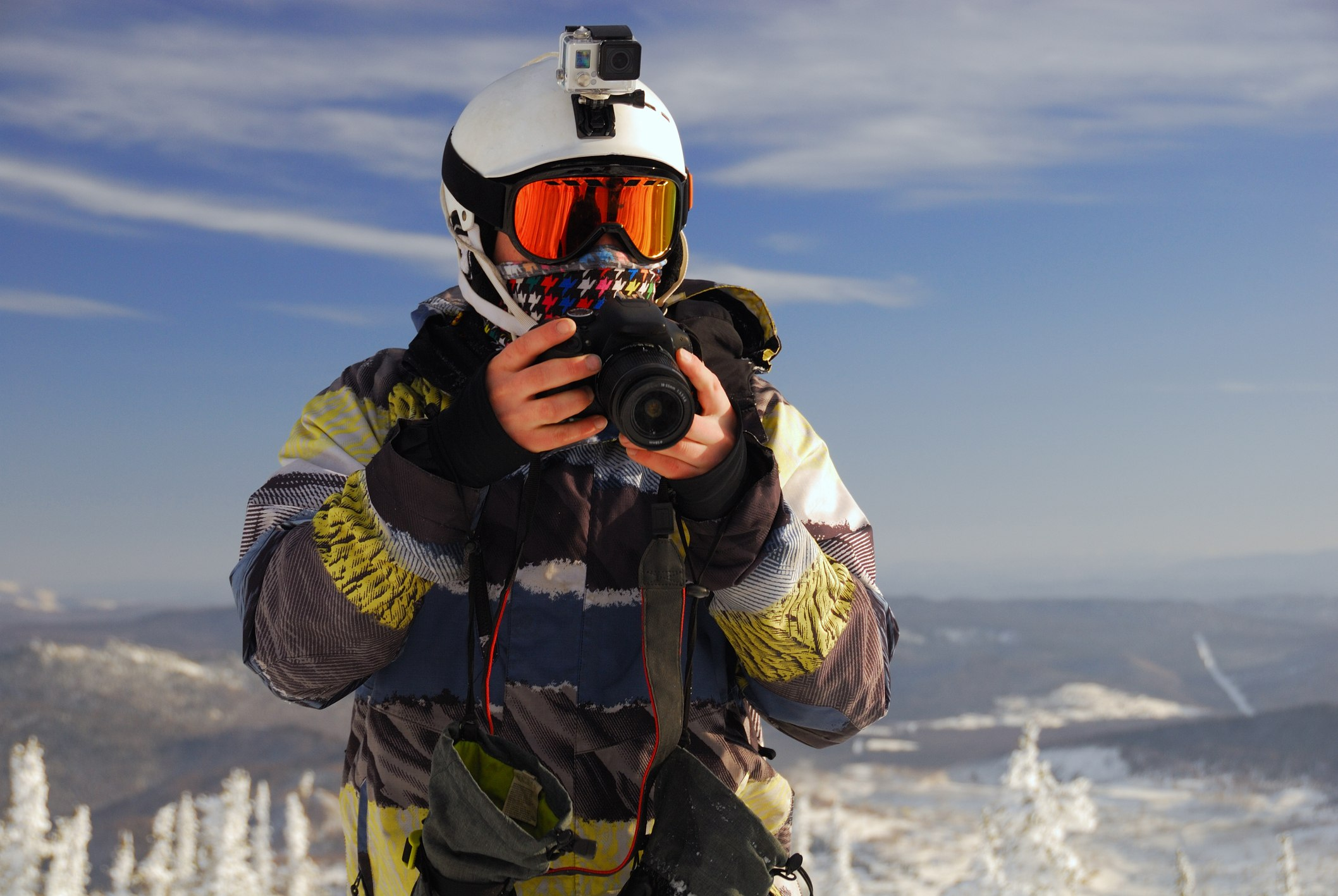 Snowboarder with camera
