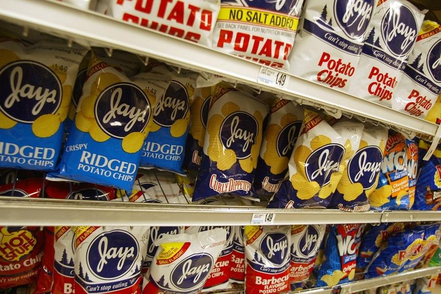 Chips lined up on market shelves.