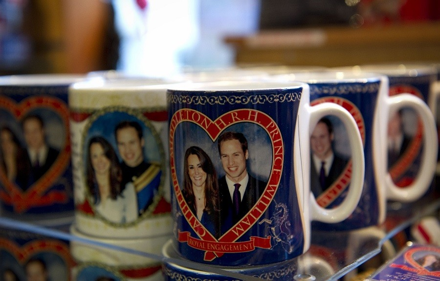 Souvenir mugs for the royal wedding of Britain's Prince William and Kate Middleton are pictured in a shop in central London