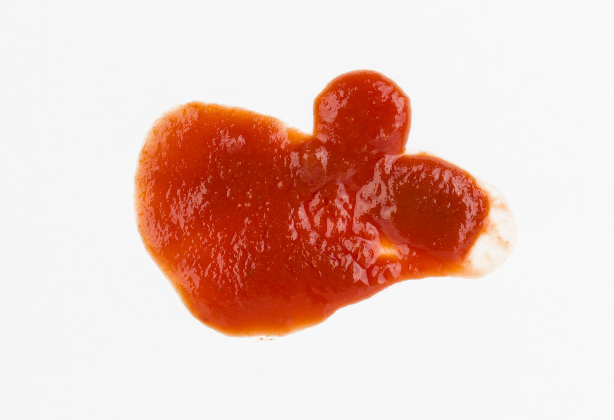 Ketchup or sauce stains.