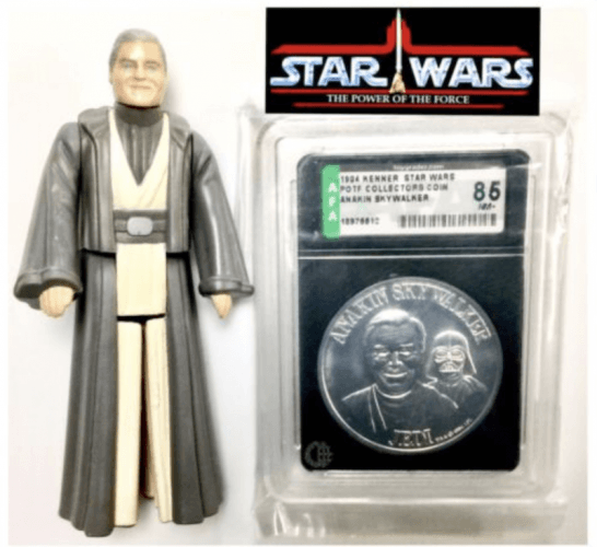 Anakin Skywalker and coin set on a white background.