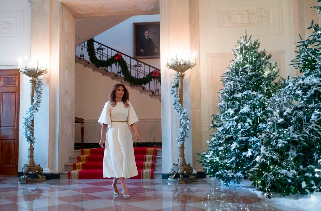 US First Lady Melania Trump walks through the Grand Foye
