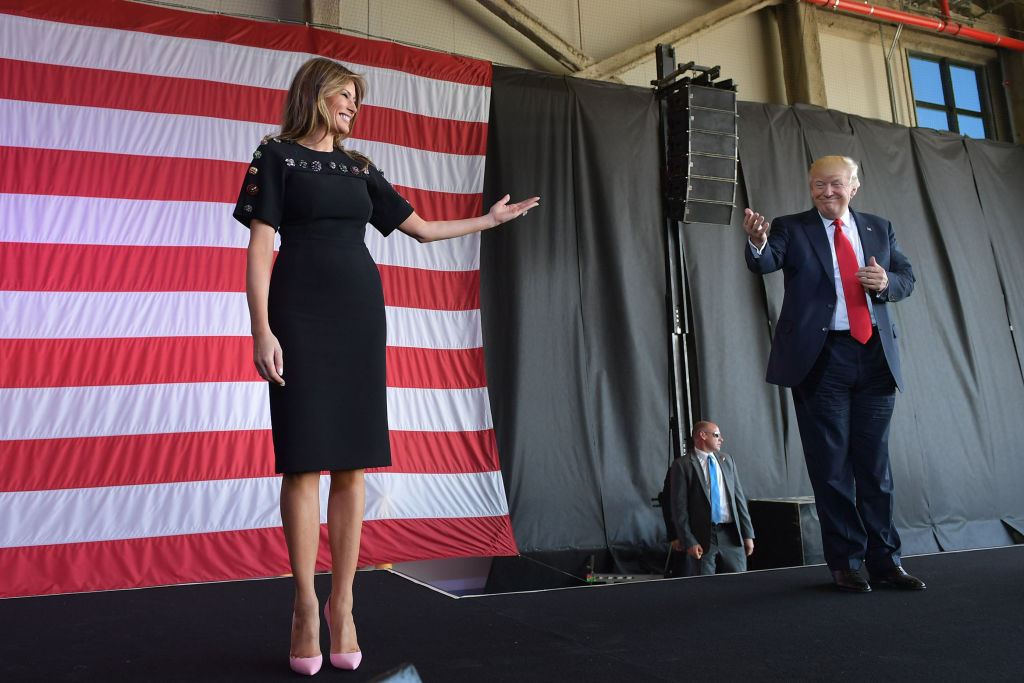 US President Donald Trump and US First Lady Melania Trump address US military personnel and families