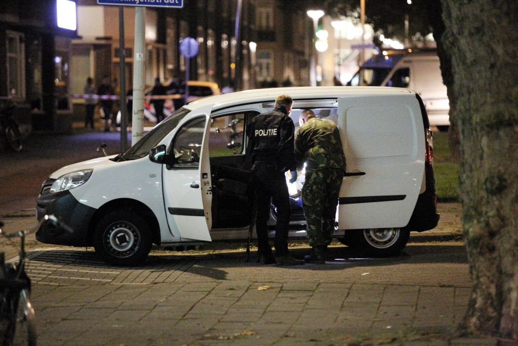 Police investigates a van with Spanish number plate packed with gas canisters in the vicinity of the concert venue Maassilo