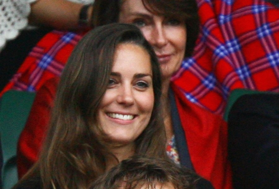 Kate Middleton, girlfriend of Prince William looks on from the crowd during the Men's Singles third round match