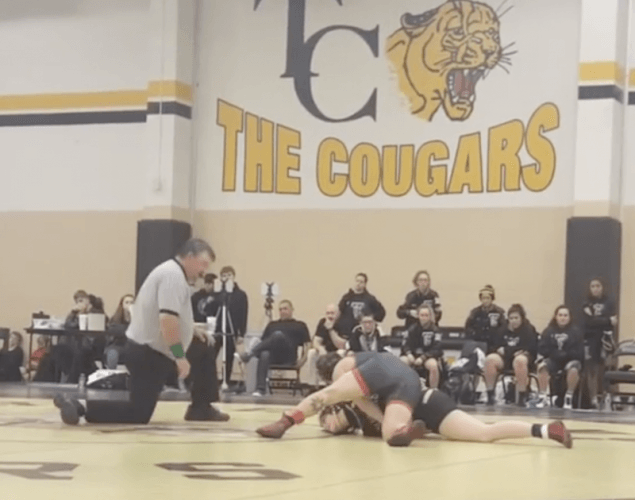 Beggs during a wrestling match.