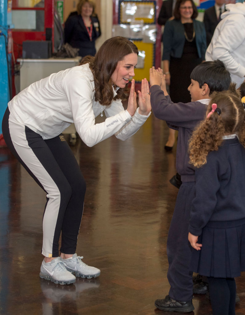 Catherine, Duchess of Cambridge, Patron of the All England Lawn Tennis and Croquet Club (AELTC) during a visit to Bond Primary School in Mitcham