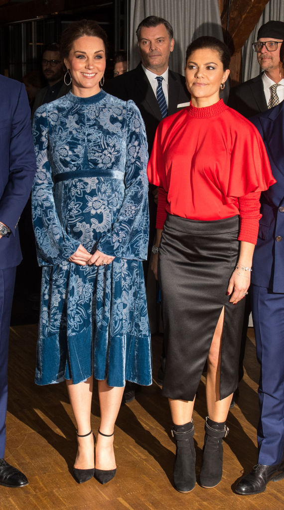 Catherine, Duchess of Cambridge is greeted by Crown Princess Victoria of Sweden