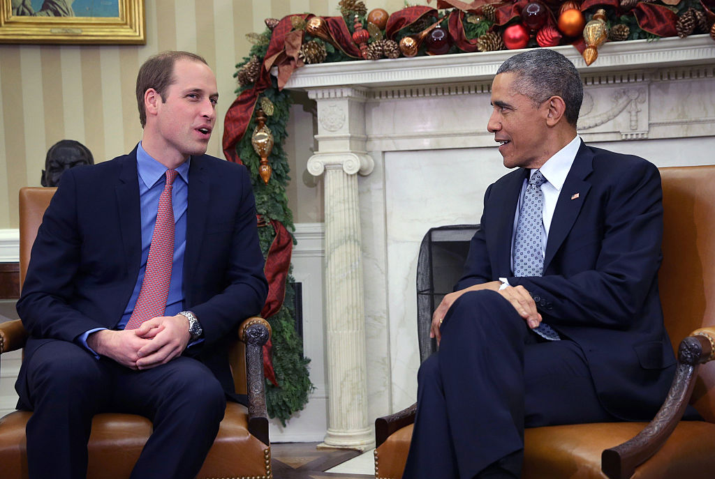 U.S. President Barack Obama meets with Prince William Duke of Cambridge, in the Oval Office of the White House