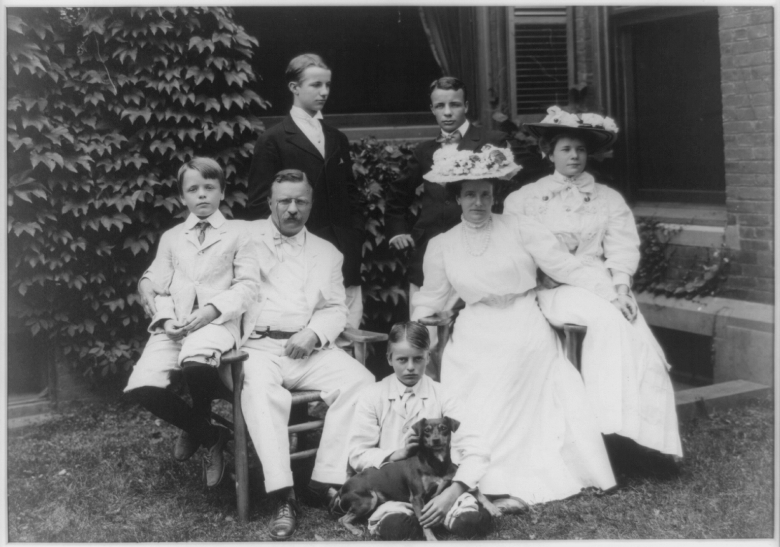 Theodore Roosevelt and his family with a dog