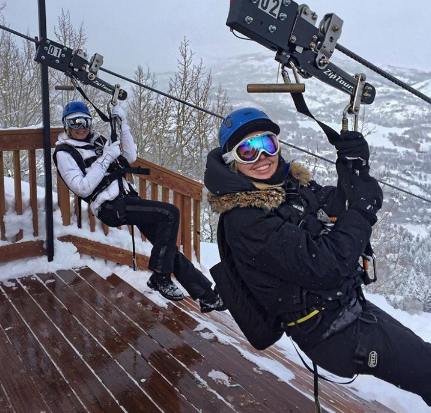 Tiffany Trump and Marla Maples Skiing