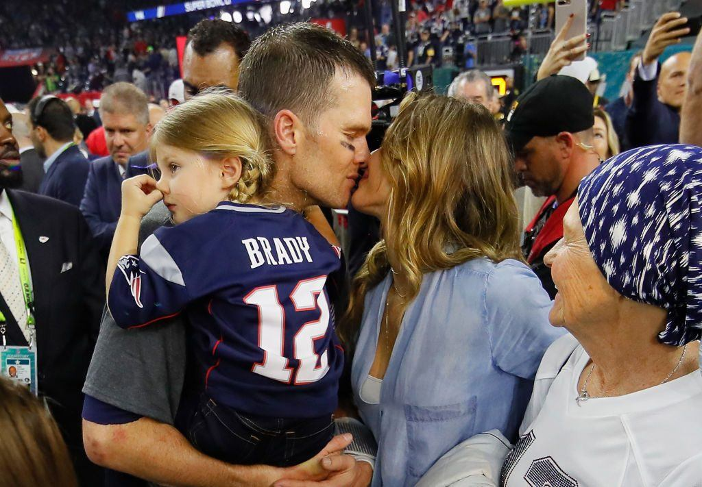Tom Brady with Gisele and his daughter