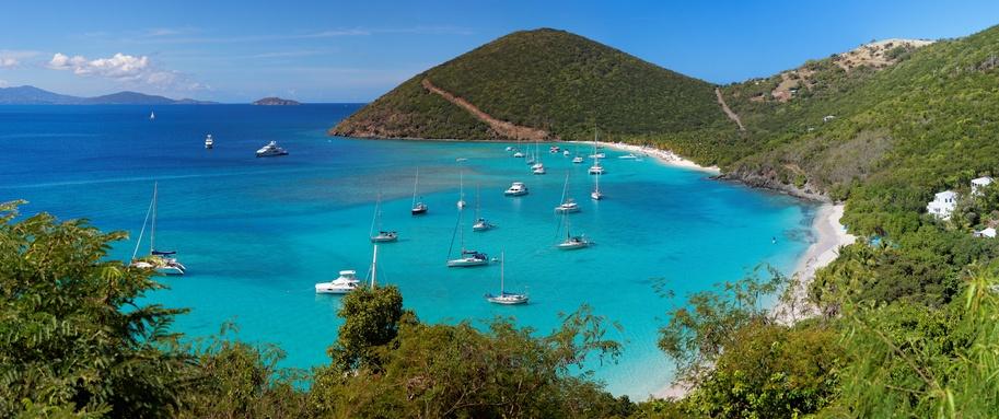 tropical shoreline in British Virgin Island