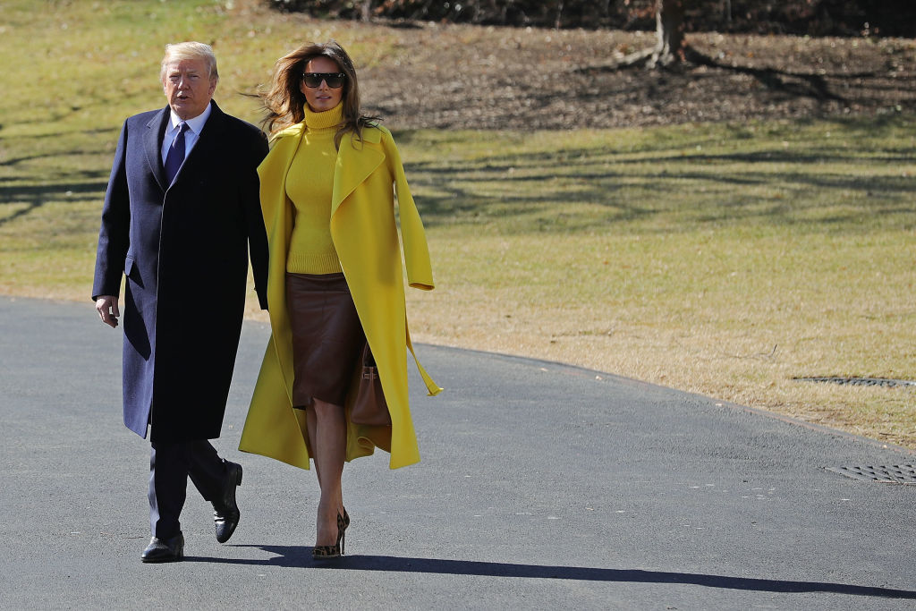 President Donald Trump (L) and first lady Melania Trump