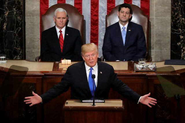 President Trump Addresses The Nation In His First State Of The Union Address To Joint Session Of Congress.