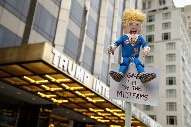 Donald Trump in front of the Trump Tower.