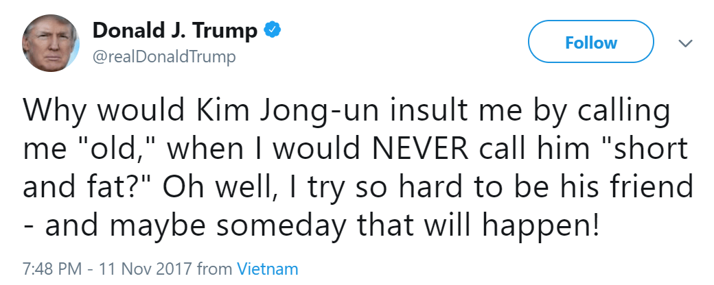 Trump tweet old North Korea