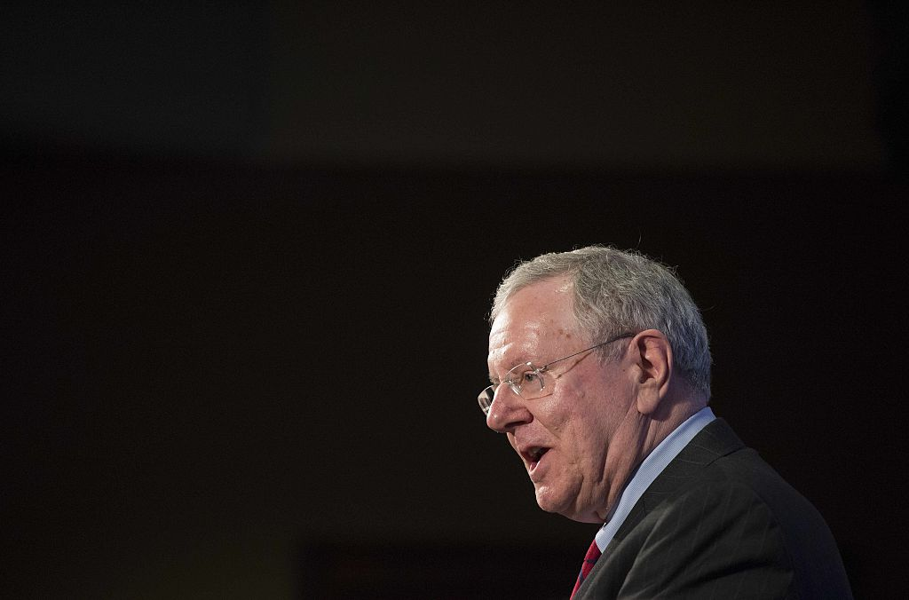 Steve Forbes speaks about the flat tax during a discussion at the Heritage Foundation