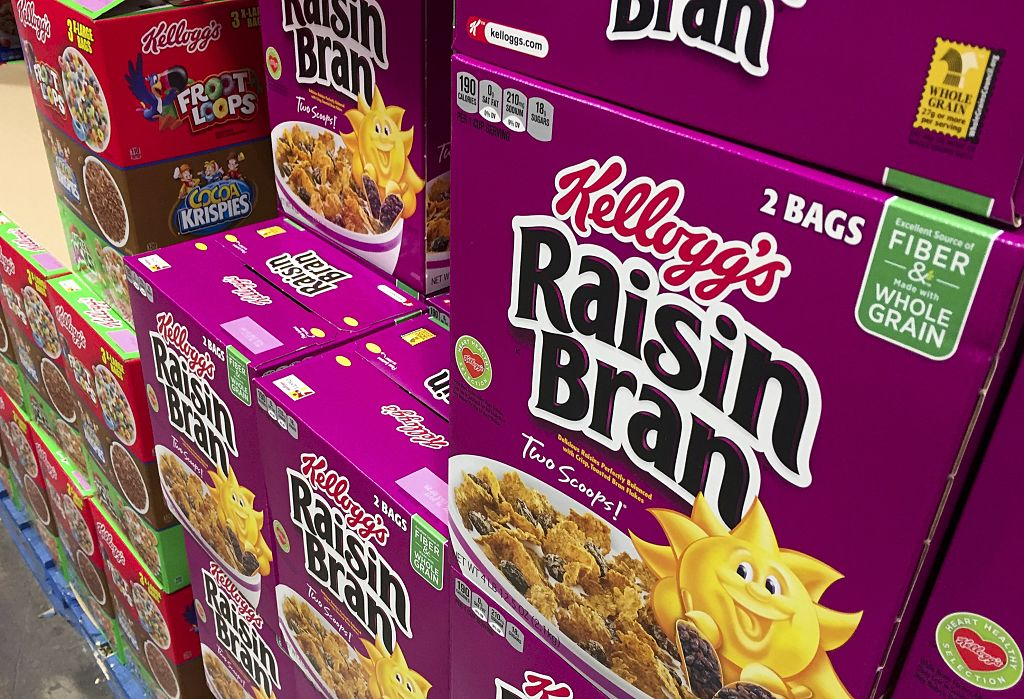 Boxes of Kellogg's cereals including Froot Loops, Cocoa Krispies and Raisin Bran are seen at a store in Arlington