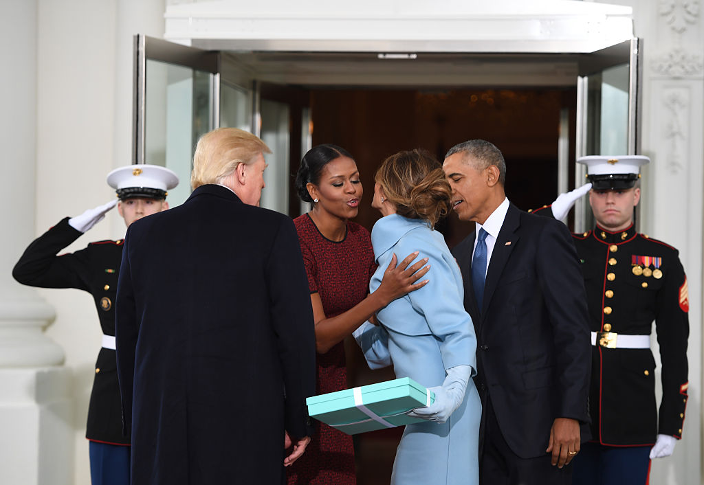 US President Barack Obama and First Lady Michelle Obama welcome Preisdent-elect Donald Trump and his wife Melania to the White House