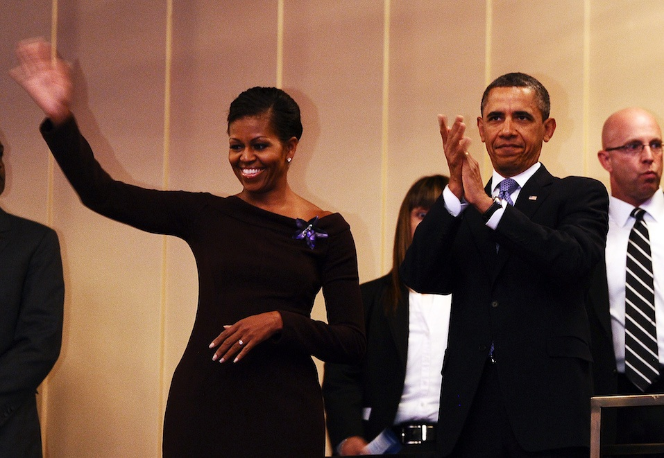US President Barack Obama and First Lady Michelle Obama arrive at the Kennedy Center