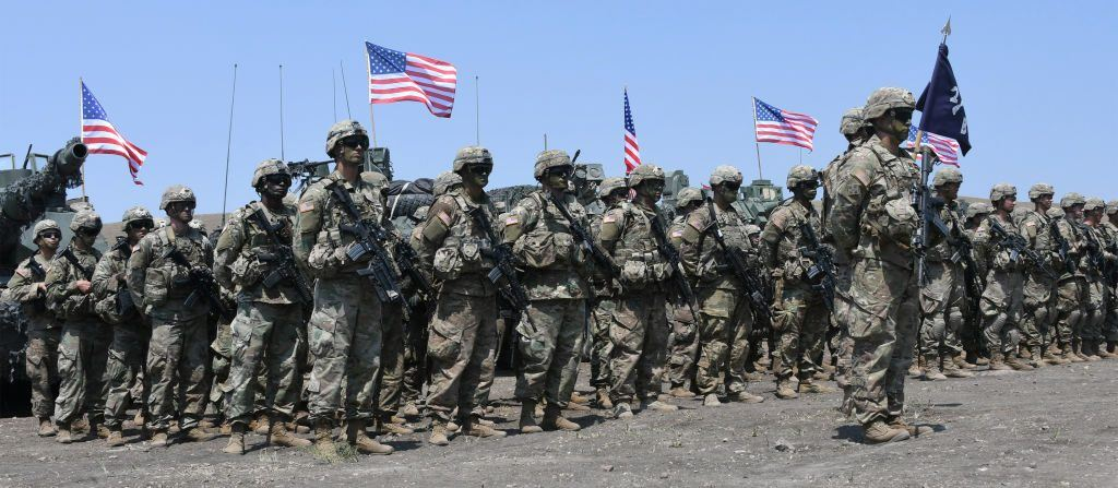 US soldiers stand at attention during the official closing ceremony of the multinational military exercise