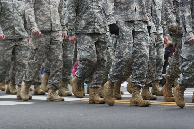 U.S Military soldiers marching.