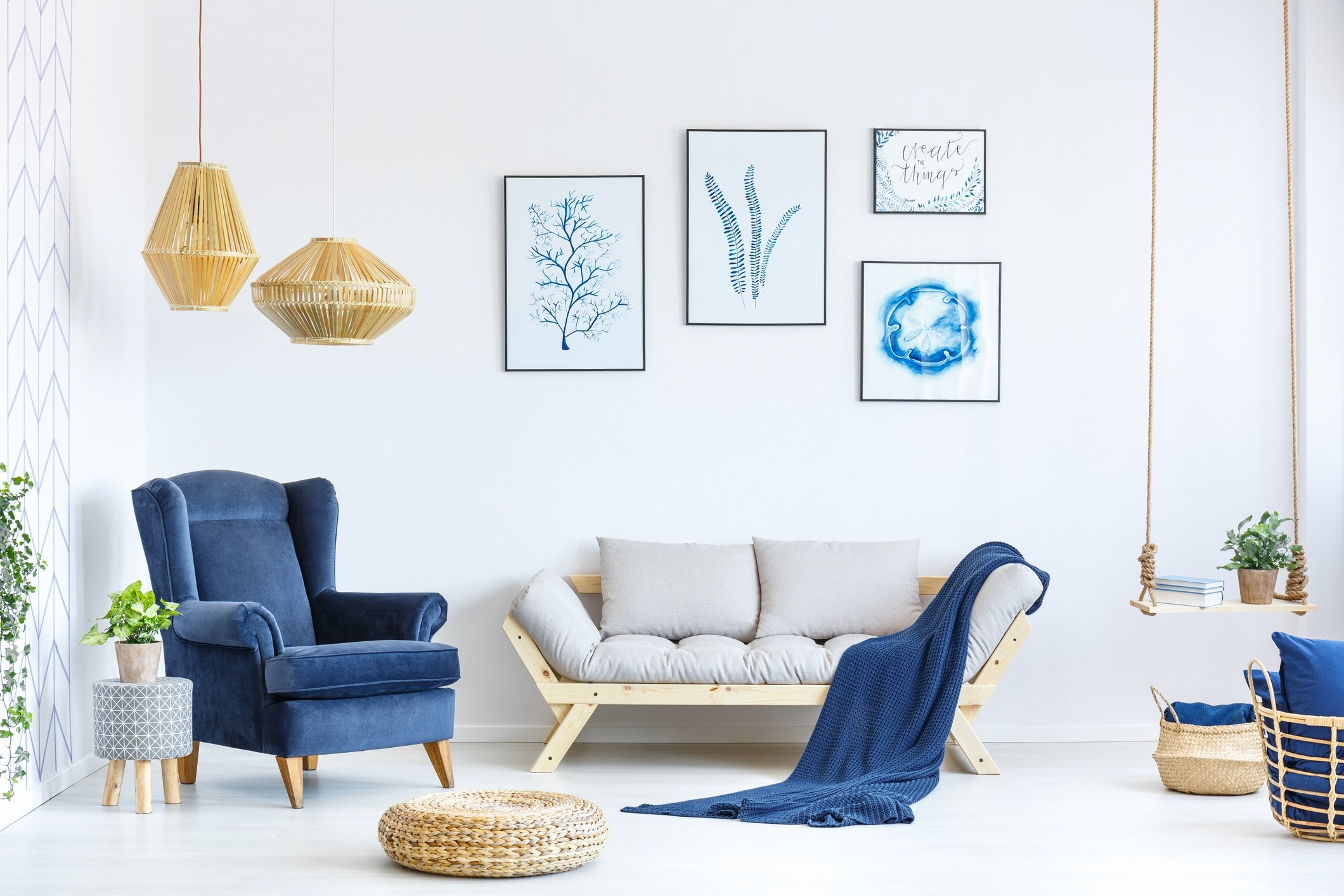 Living room with blue velvet chair