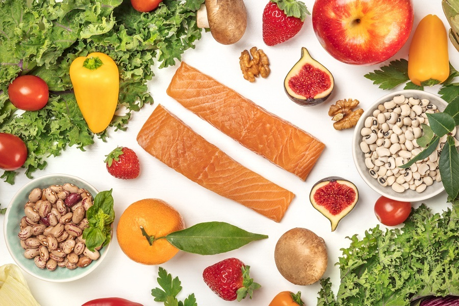 Vegetables, fruits, legumes, fish, mushrooms,