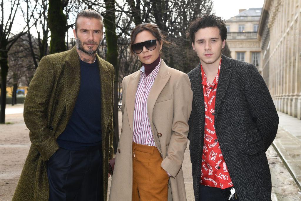 Victoria, David and Brooklyn Beckham