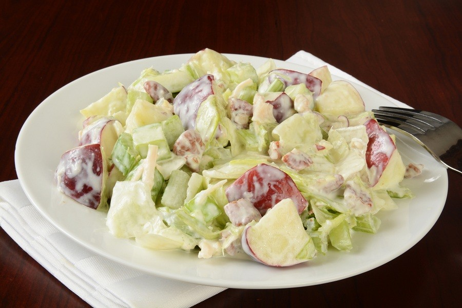 A plate of Waldorf salad
