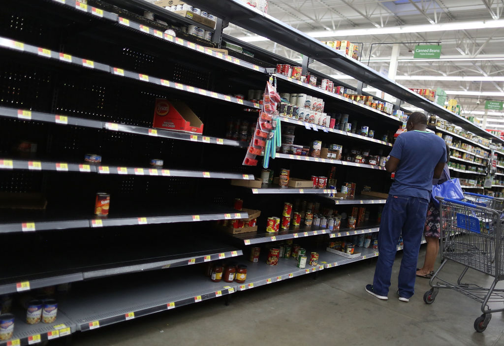 Empty shelves at a walmart store during hurricane