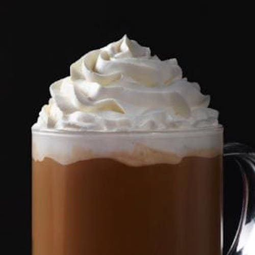 A hot chocolate with whipped cream.