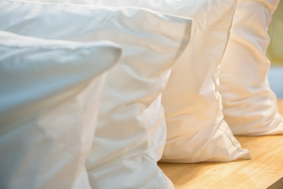 Row of white pillows