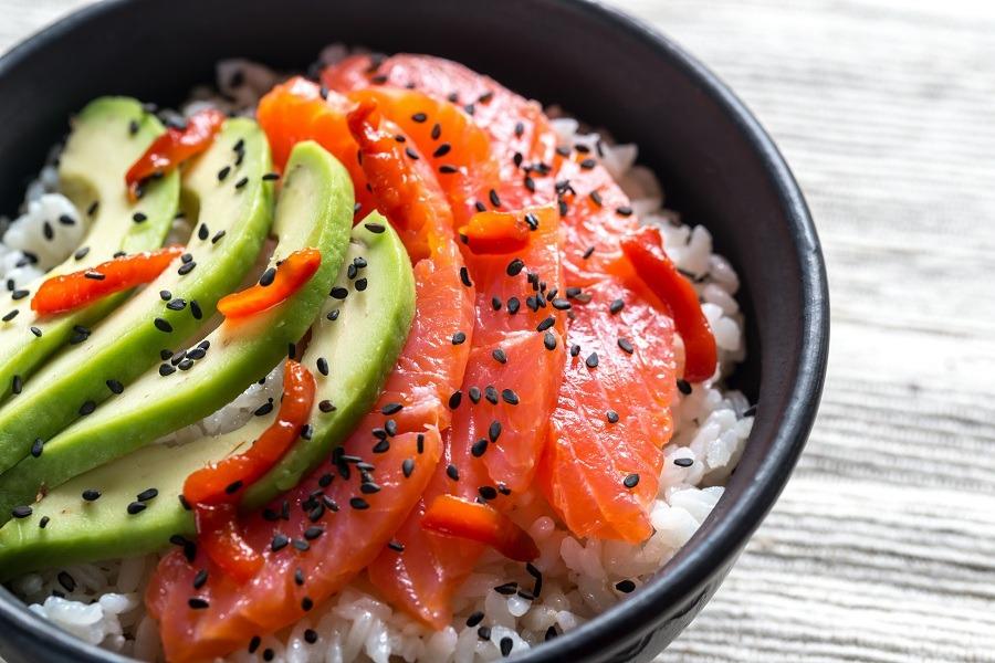 White rice with salmon