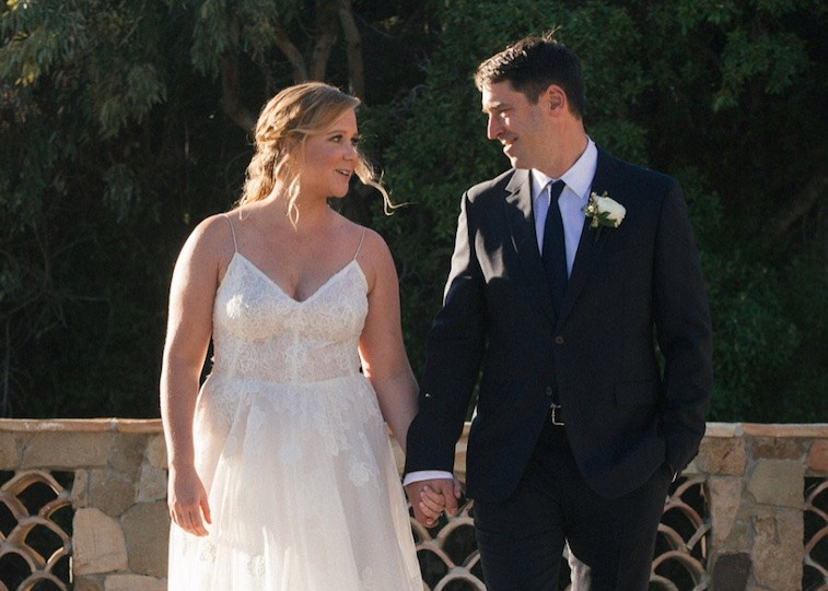 Amy Schumer and her husband on their wedding day