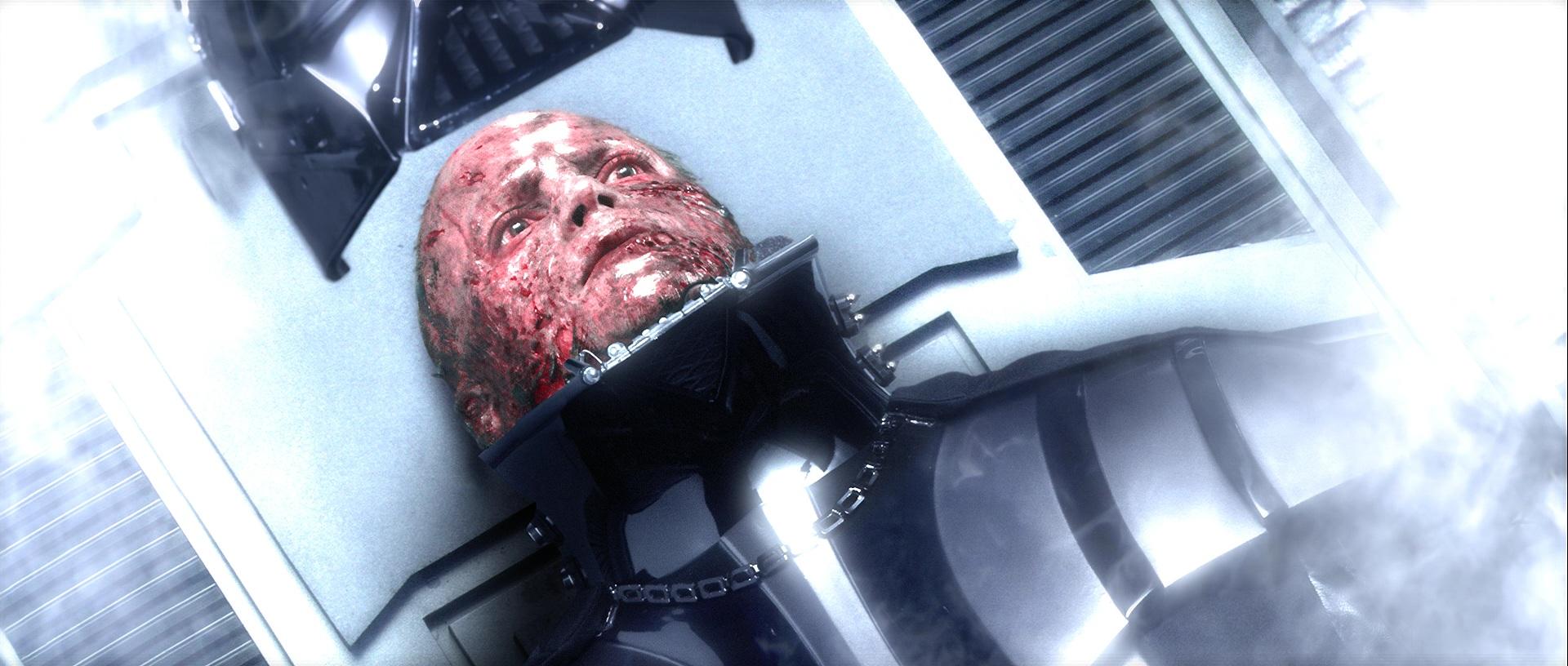 The Darth Vader helmet is put on Anakin's head in Star Wars: Episode III -- Revenge of the Sith