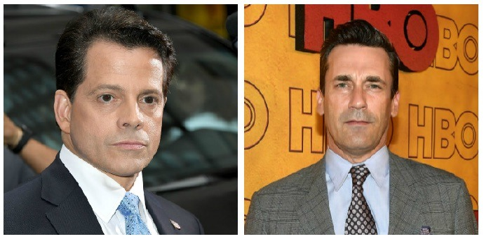 A composite image Anthony Scaramucci and Jon Hamm