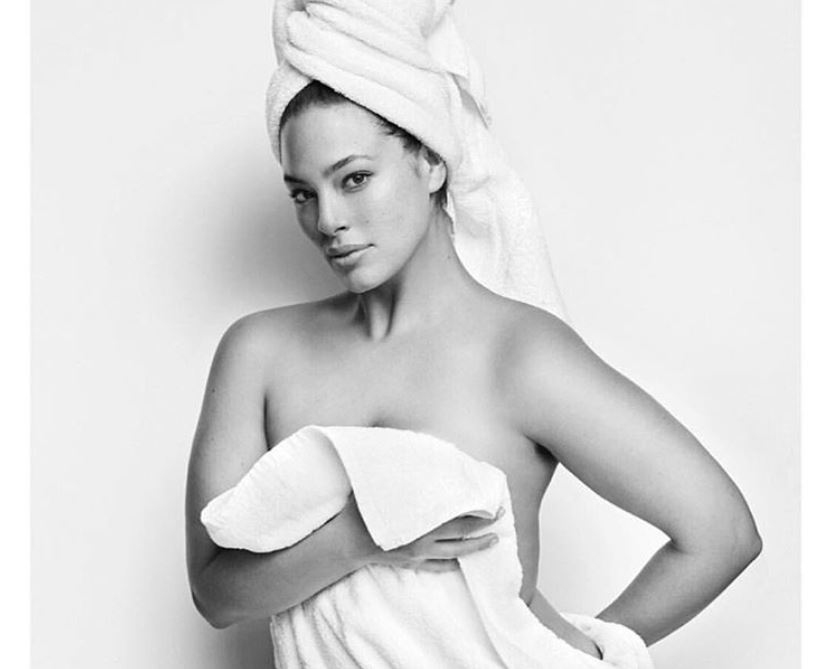 Ashley Graham posing in a towel